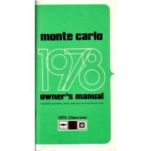 1978 CHEVROLET MONTE CARLO Owners Manual User Guide Automotive