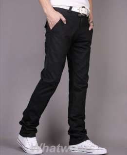 Mens Slim Casual Trousers Straight Leg Pants Black Z51