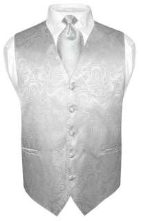 Mens SILVER Paisley Design Dress Vest and Neck Tie XXL
