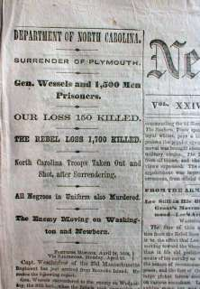 1864 Civil War newspaper Battle PLYMOUTH North Carolina