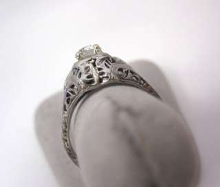 AMAZING ANTIQUE ART DECO 18K WHITE GOLD FILIGREE LARGE DIAMOND