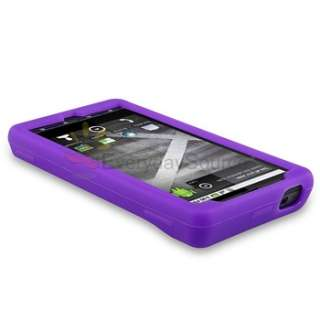 Black Pink Purple Soft Skin Case Cover+Privacy LCD Film For Motorola