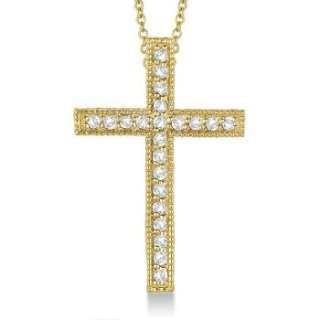 33ct Diamond Cross Pendant Necklace in 14k Yellow Gold Womens w
