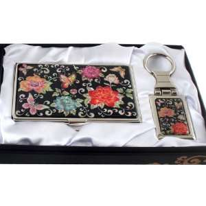 of Pearl Red Peony Flower Design Keychain Key Ring Holder Business
