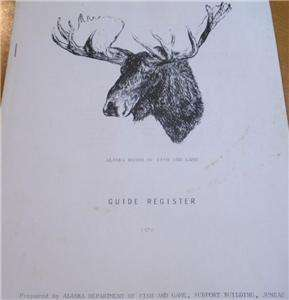 Vintage Alaska Wildlife Hunting Book Register of Big Game Master