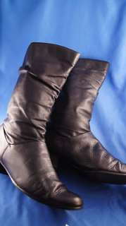 Liz Baker Black Leather 8.5 m Womens Mid Calf Boots