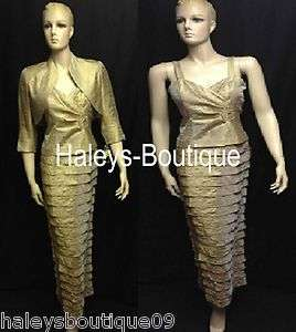 Howard Petite 4P, 10P Gold 2PC Tiered Jacket Dress Mother of the Bride