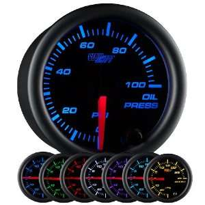 GlowShift Black 7 Color Oil Pressure Gauge Automotive