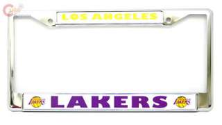 LA Lakers Car Auto License Plate Frame  Metal Chrome