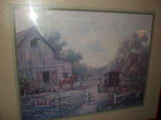 Old Time Farm Family Print Barn Horse Buggy signed Carl Valente