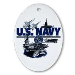 Ornament (Oval) US Navy with Aircraft Carrier Planes Submarine