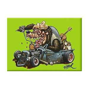 Artist BigToe Hot Rod Bear Moonshine Truck Fridge Magnet
