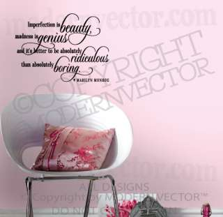 MARILYN MONROE Quote Vinyl Wall Decal IMPERFECTION IS Vinyl Sticker