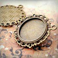 10 fashion Round Charms Cabochon Settings Antique Brass bronze