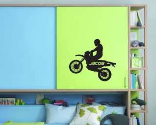 Dirt Bike with Custom Name   Wall Quote Decal Sticker