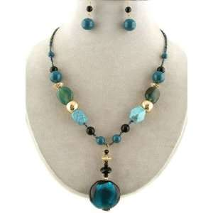 Fashion Jewelry ~ Teal Murano Glass Pendant Beads Necklace