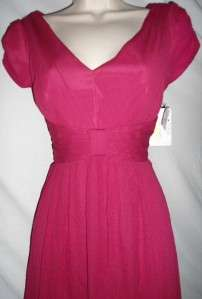 Suzi Chin Dress Silk Fuschia Sz 12 NWT V Neck $158