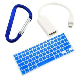 GTMax Blue Silicone Keyboard Cover + Mini Displayport to