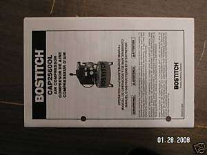 STANLEY BOSTITCH OILED AIR COMPRESSOR OWNERS MANUAL