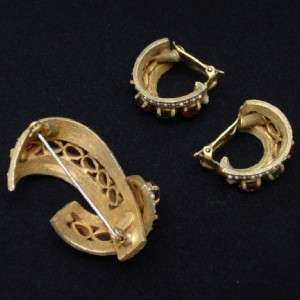 Hattie Carnegie Set Vintage Brooch Pin & Earrings Unusual Design