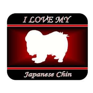 Love My Japanese Chin Dog Mouse Pad   Red Design