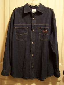 MICKEY MOUSE DENIM SHIRT DISNEY STUDIOS MEDIUM LS EMBROIDERED BACK