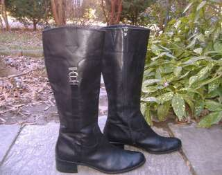 FOXY Tall and Sleek ETIENNE AIGNER Black Leather Campus Boots 10