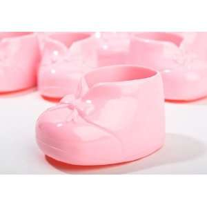 Pink Opaque Hard Plastic Baby Booties   For Baby Girl Shower Favors