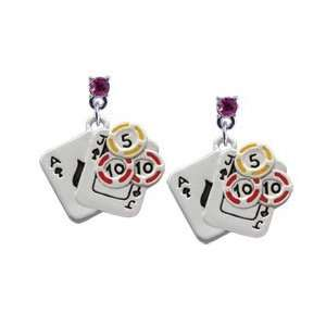 Cards with Poker Chips Hot Pink Swarovski Post Charm Earrings [Jewelry