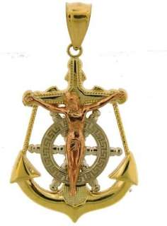 YELLOW GOLD MULTI TONE ANCHOR JESUS CROSS CHARM PENDANT