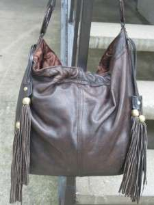 Sabina Used Brown Leather Handbag Purse Hobo Bag