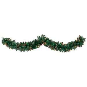 Set of 2 Pre Lit Douglas Fir Artificial Christmas Garlands 9 x 12