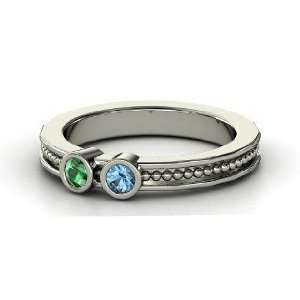 With Two Gems, Sterling Silver Ring with Emerald & Blue Topaz Jewelry