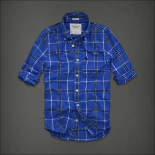NWT Abercrombie HCO Mens Plaid Shirt S M L Button Down Muscle Blue