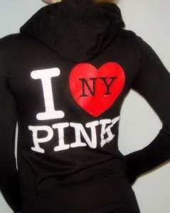 VICTORIA SECRET PINK BLING I HEART NEW YORK HOODIE XS