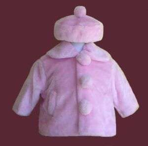 GIRLS HOLIDAY PINK FAUX FUR JACKET COAT w/HAT SIZE 3T