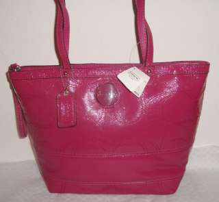 NWT COACH SIGNATURE STRIPE PATENT LEATHER BERRY PINK TOTE BAG PURSE