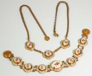 Art Nouveau, HAND PAINTED Floral Enamel Necklace PARURE