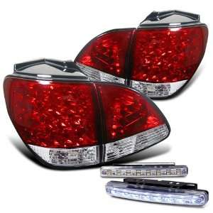 Eautolight Lexus RX300 RX 300 LED Red Chrome Tail Light Lamps with DRL