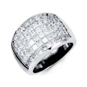 Solid 18K White Gold Extra Wide Princess Diamond Ring Jewelry