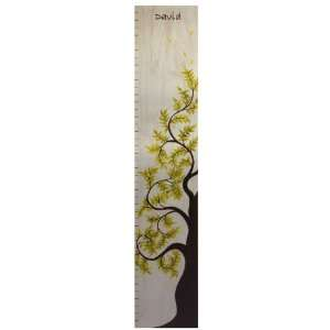 Personalized Blue Tree of Life Wooden Growth Height Chart Baby