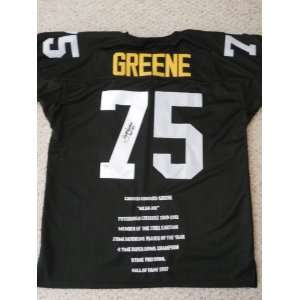 Mean  Joe  Greene signed autographed stat Authentic