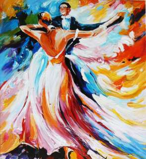 Oil Painting Canvas Spanish Flamenco Dancer Red Dress Modern Wall