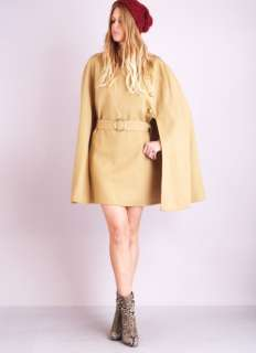 BUTTON Draped Swing Sweep Wool Belted Dress jacket COAT CAPE