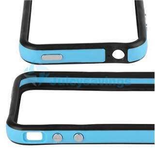 Blue Black Bumper Case+2in1 Anti Glare Screen Protector For Apple