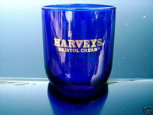 HARVEYS BRISTOL CREAM COBALT BLUE ROUND GLASS HEAVY BOTTOM GOLD LOGO