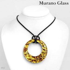 MURANO GLASS Necklace 14K Gold / 24K 3tone Murano Glass