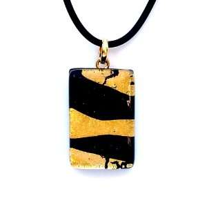 Murano Glass Gold and Black Pendant Jewelry