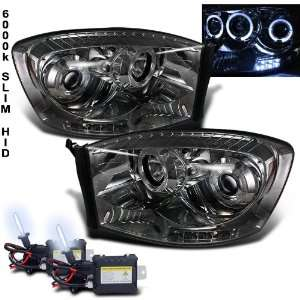 6000k Slim Xenon HID Kit+ 06 08 Dodge Ram Halo LED Smoke