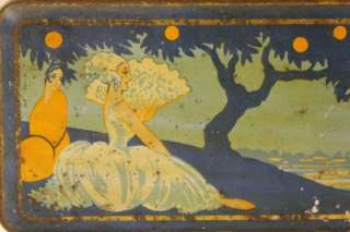 Antique French Art Nouveau ladys at the lake scene biscuit tin.1910s